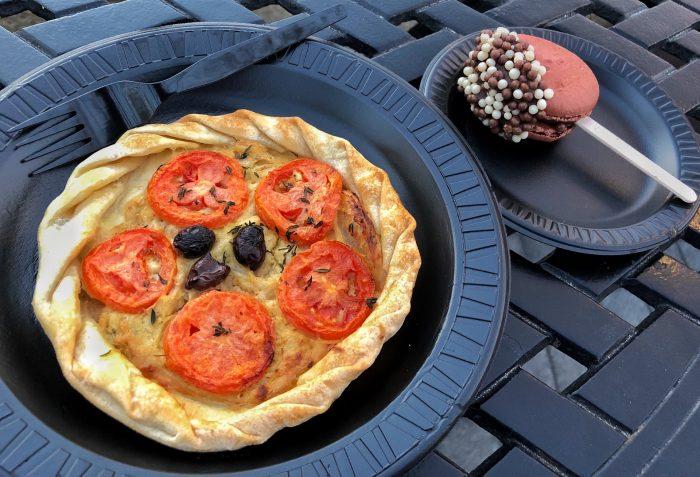 Provencal tomato tart and chocolate macaron lollipop from Fleur de Lys