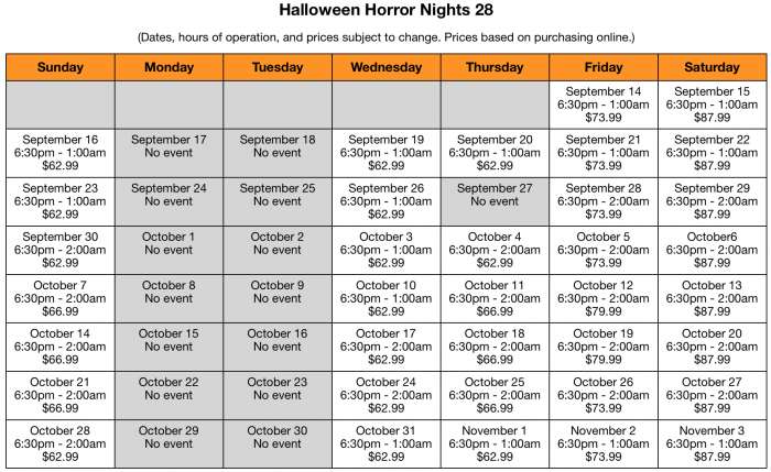 HHN Calendar: Hours and Ticket Prices